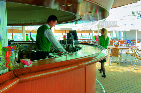 the pool bar of the cruise ship