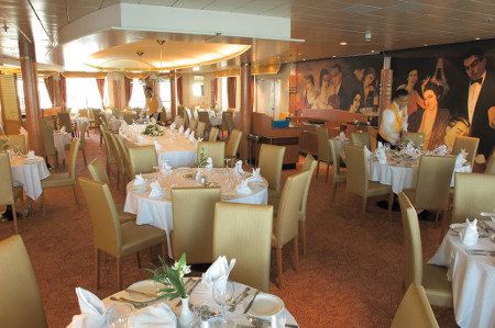 Restaurant of the ship Louis Crystal